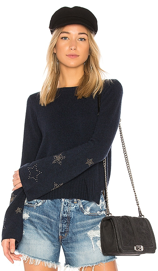 Autumn Cashmere Star Bell Sleeve Sweater in Navy