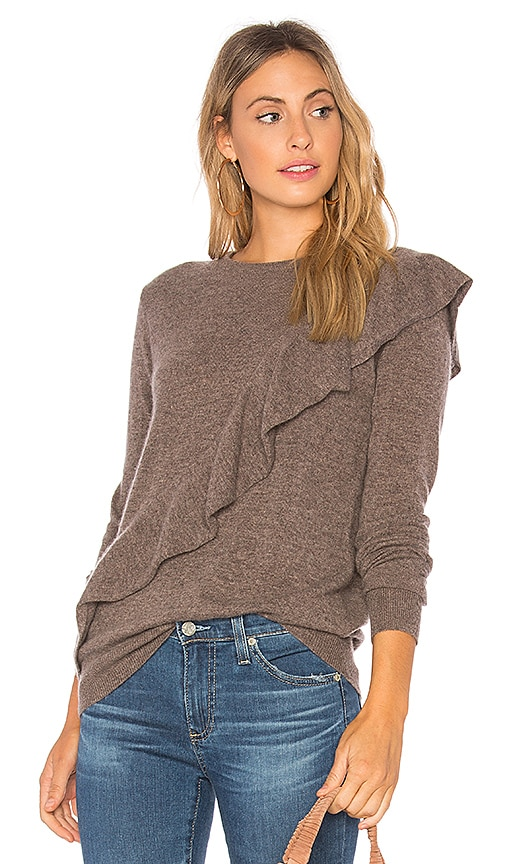 Autumn Cashmere Asymmetric Ruffle Sweater in Gray