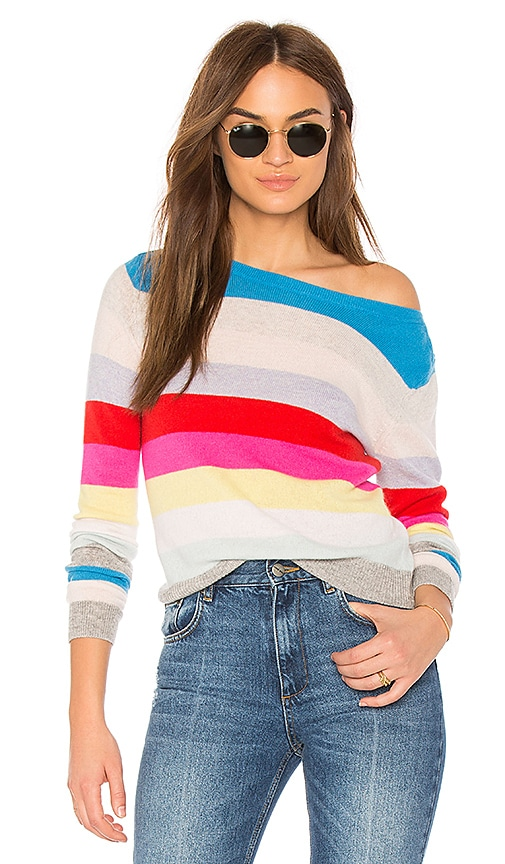 Autumn Cashmere Rainbow Stripe Sweater in Pink