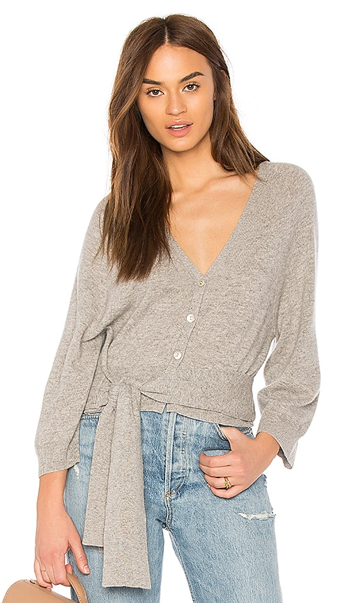 Autumn Cashmere Tie Front Cardigan in Gray