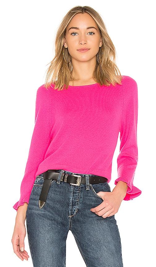 Autumn Cashmere Ruffle Sleeve Sweater in Fuchsia