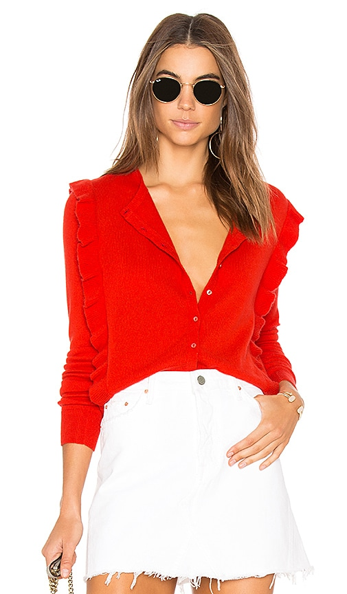 Autumn Cashmere Ruffle Cardigan in Red