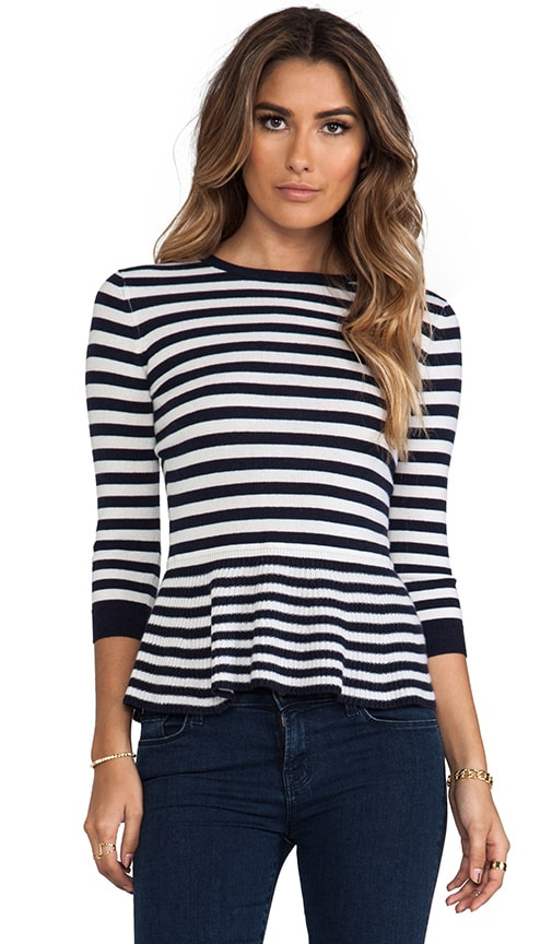 Striped 3/4 Sleeve Peplum Top