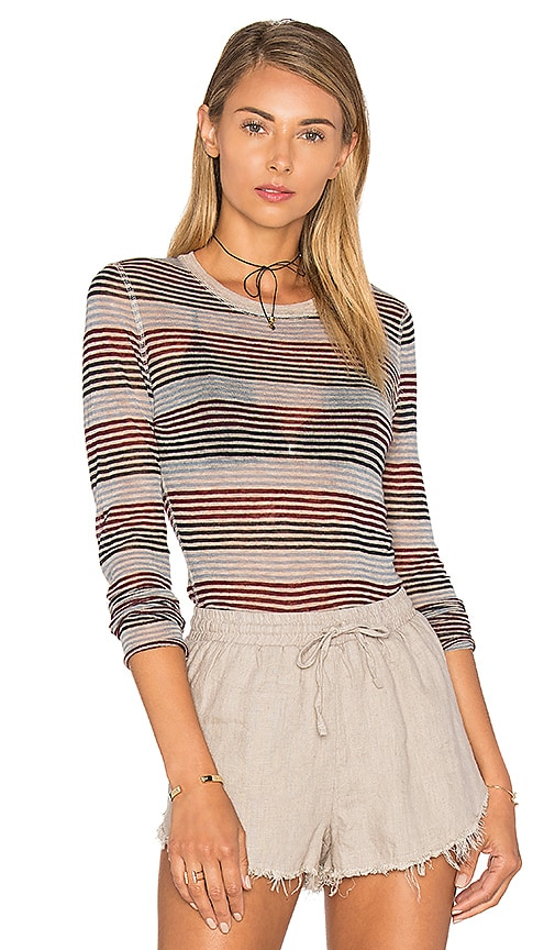 Autumn Cashmere Stripe Long Sleeve Top in Black