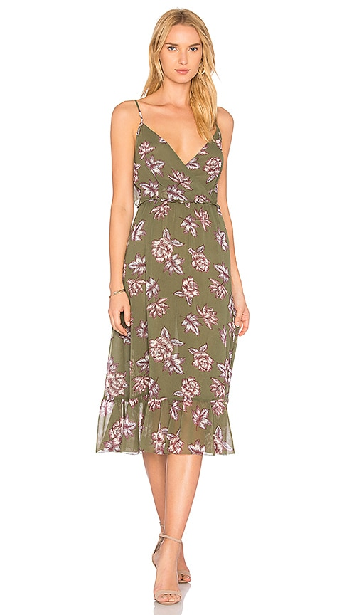 AVEC LES FILLES Surplice Ruffle Dress in Green