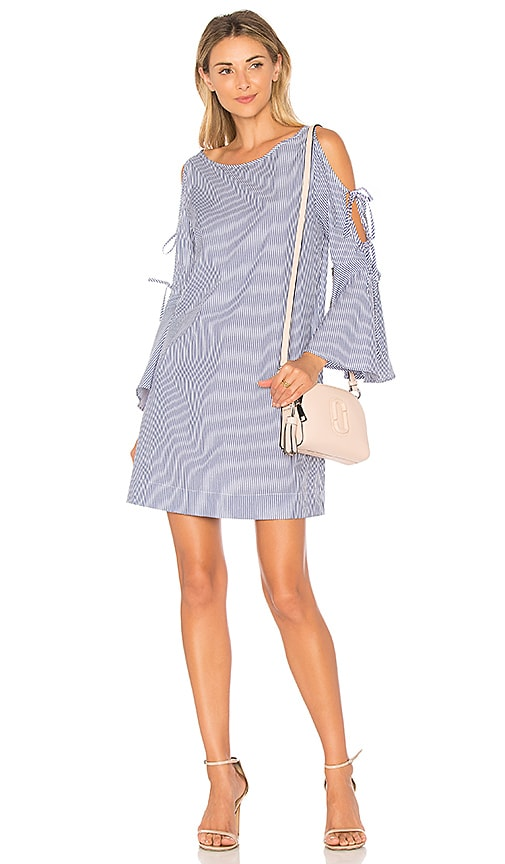 AVEC LES FILLES Trumpet Sleeve Dress in Blue