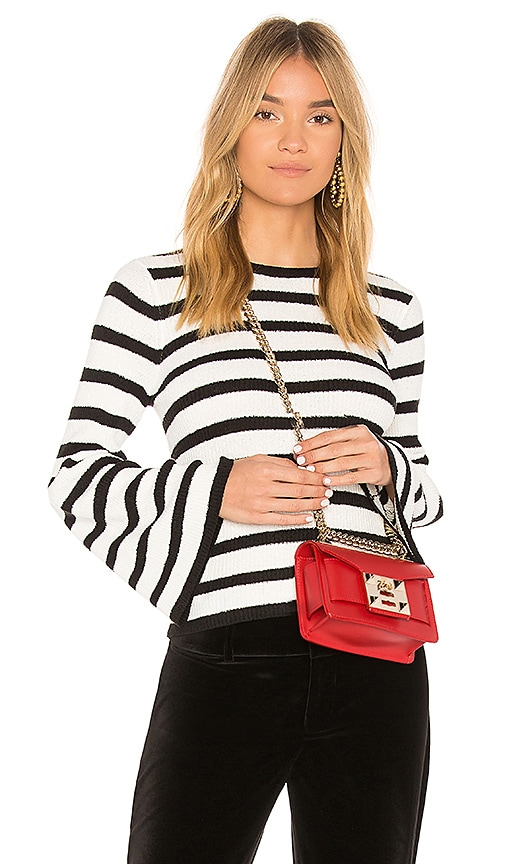 AVEC LES FILLES Striped Bell Sleeve Sweater in Black & White