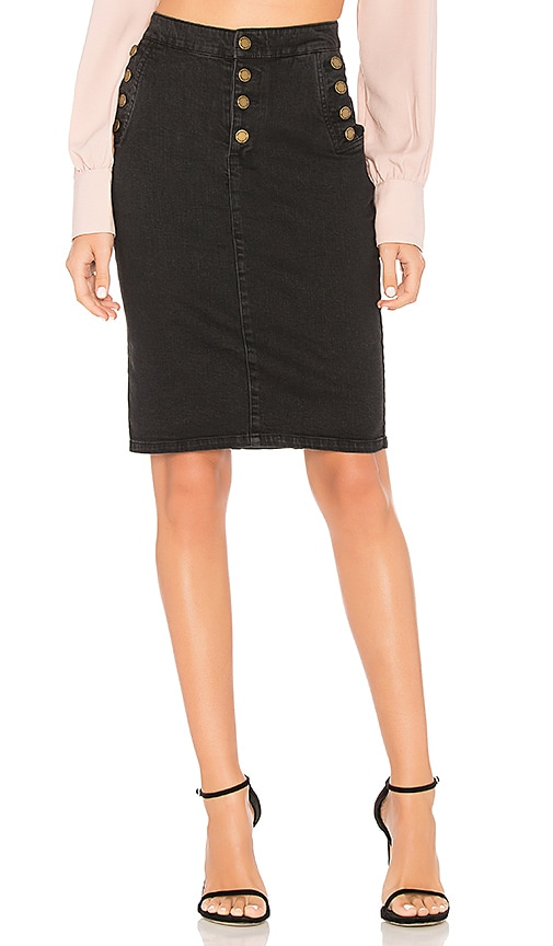AVEC LES FILLES Button Up Denim Skirt in Black