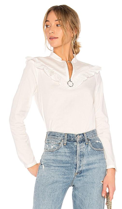 AVEC LES FILLES Zip Front Ruffle Top in White