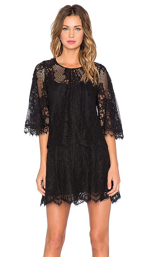 Alexis Grazia Lace Dress with Removable Top in Black Lace