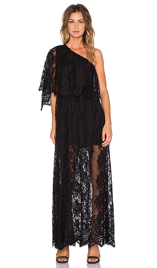 Alexis Tory One Shoulder Dress in Black Lace