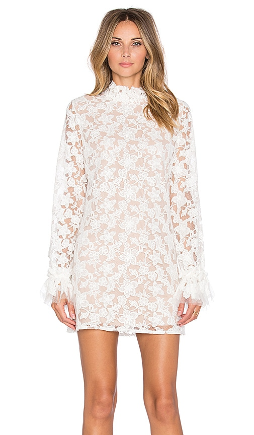 Alexis Alanis Ruffle Sleeve Lace Dress in White Embroiderey