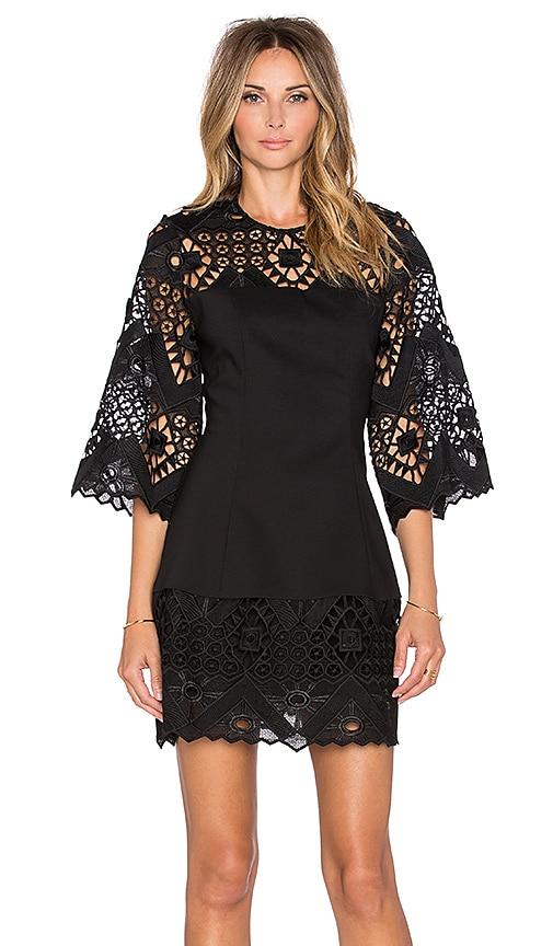 Alexis Rae Crochet Mini Dress in Black Crochet