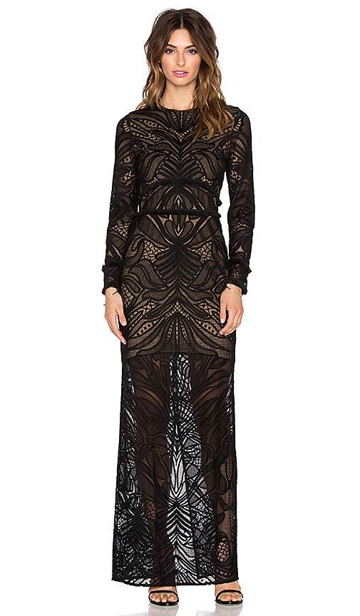 Alexis Kassidy Fringe Lace Dress in Black