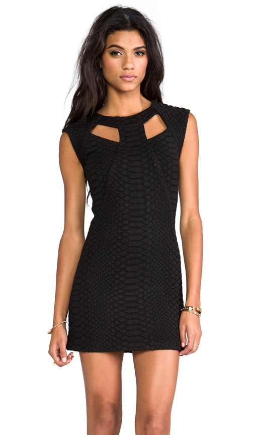 Penelope Black Structured Dress With Front Cut Outs