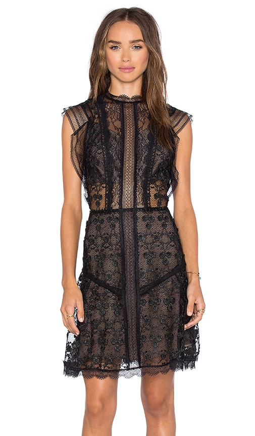 Alexis Mily Dress in Black Flower Embroidery