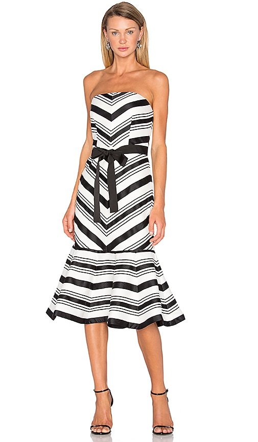 Alexis Kirsten Strapless Dress in Black & White