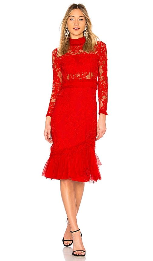 Alexis Anabella Lace Midi Dress in Red