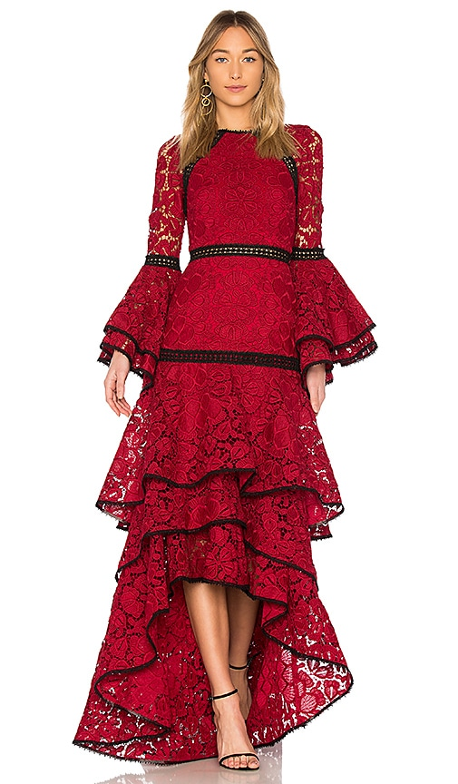 ALEXIS Laurel Long-Sleeve Tiered Lace Evening Gown, Red | ModeSens