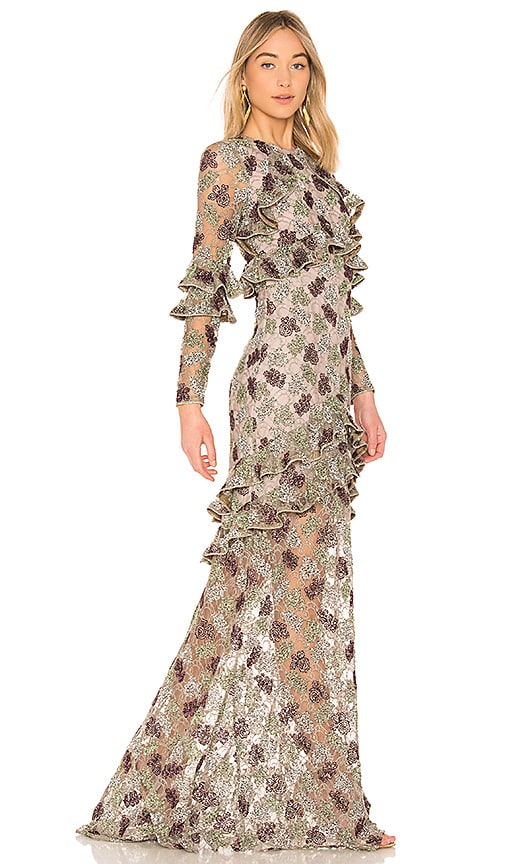 Alexis Essense Embroidered Gown in Floral Embroidery Sequin | REVOLVE