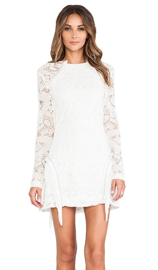 Alexis Darya Fringe Detail Dress in White Lace | REVOLVE
