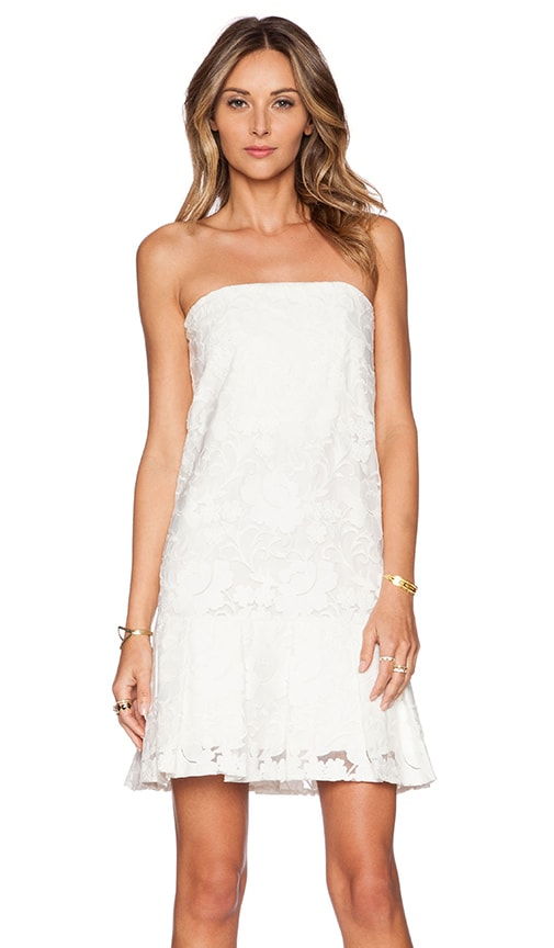 Alexis Drexel Floral Organza Strapless Dress in White
