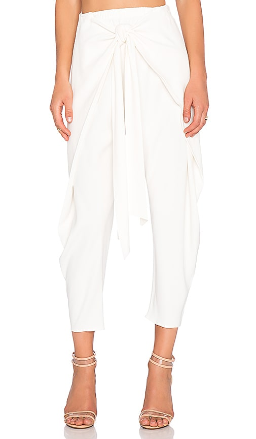 Alexis Nikos Cross Over Tie Front Pant in White