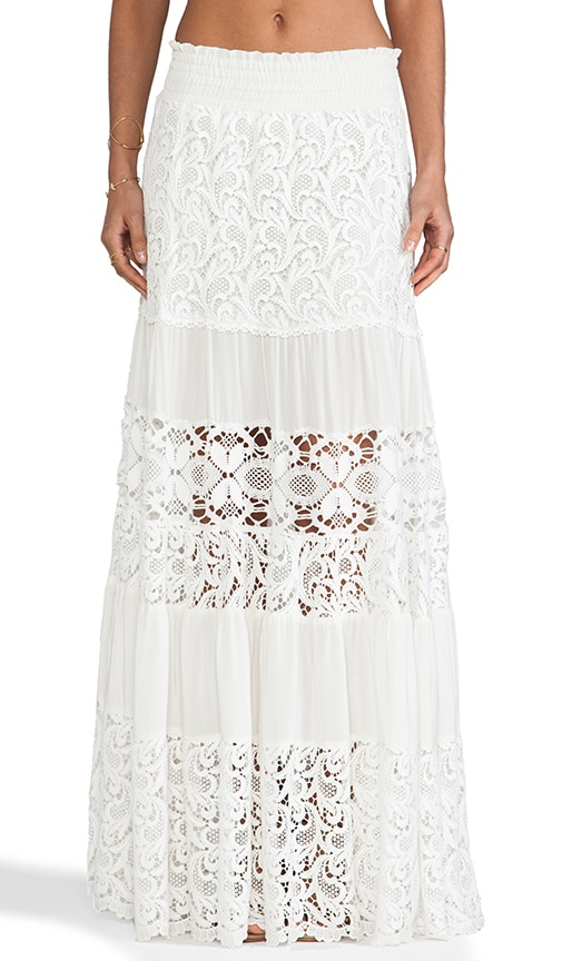 Alexis Liu Maxi Skirt In White Crochet Revolve