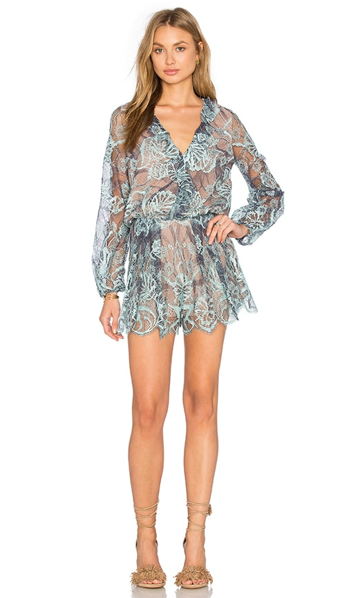 Alexis Marena Romper in Light Blue Lace