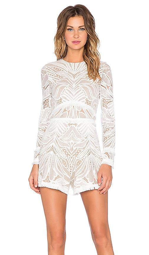 179b6258a7ff Alexis Garner Lace Fringe Romper in White Lace