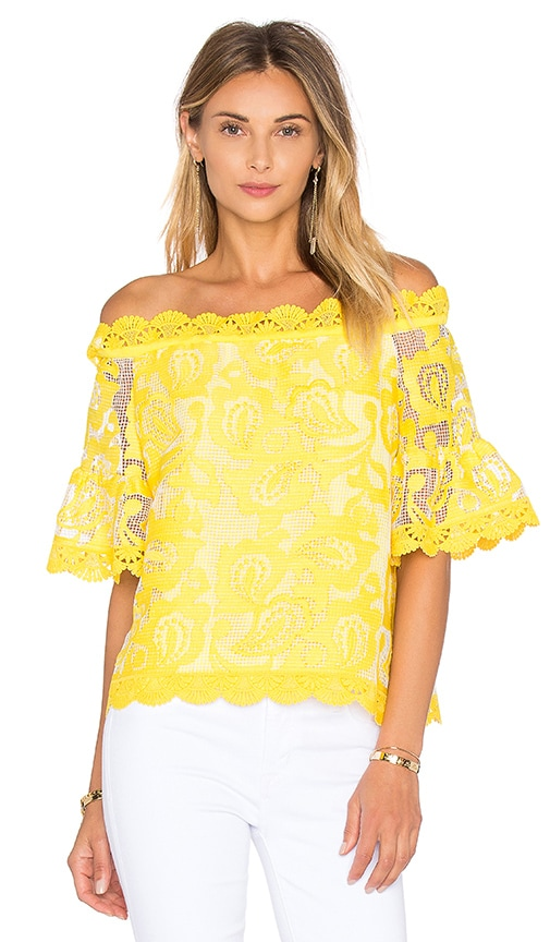 Alexis Karol Top in Yellow Embroidery