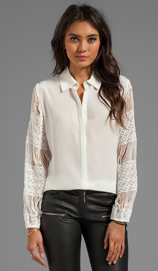 Aleksandra Button Down Blouse With Crochet Sleeves