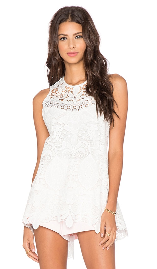 Alexis Ji Open Back Top in White Crochet