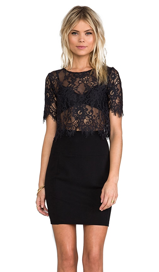 Lisette Crop Lace Top With Cap Sleeves