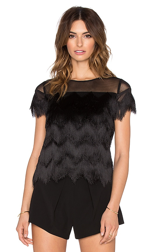 Alexis Marvin Fringe Crop Top in Black