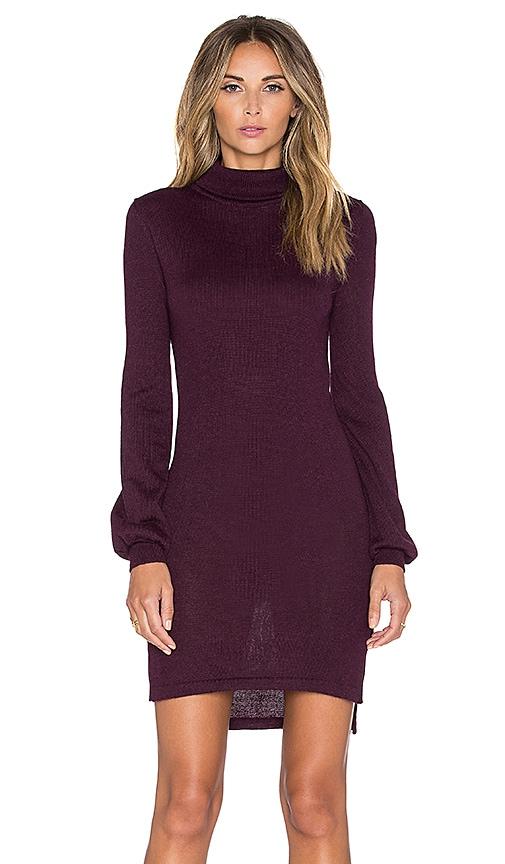 AYNI Onyx High Neck Sweater Dress in Burgundy