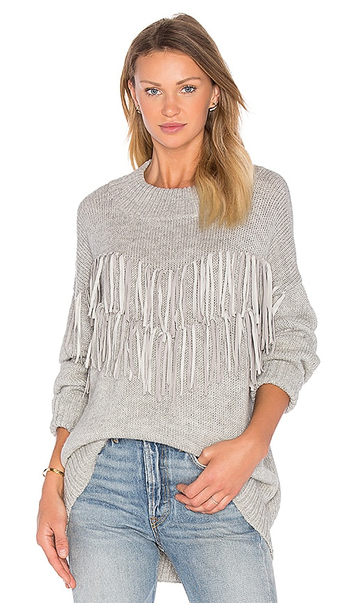 AYNI Tayi Fringe Sweater in Gray