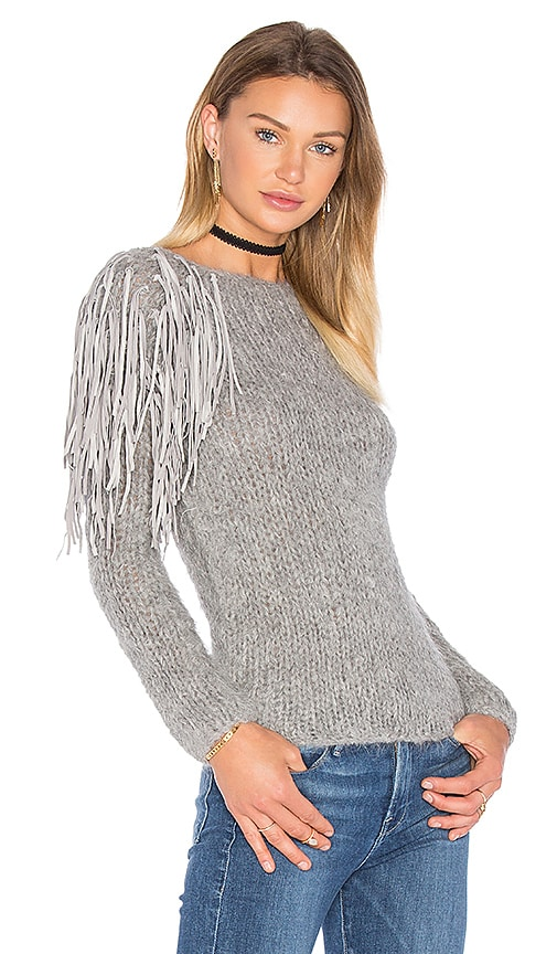 AYNI Livia Fringe Sweater in Gray