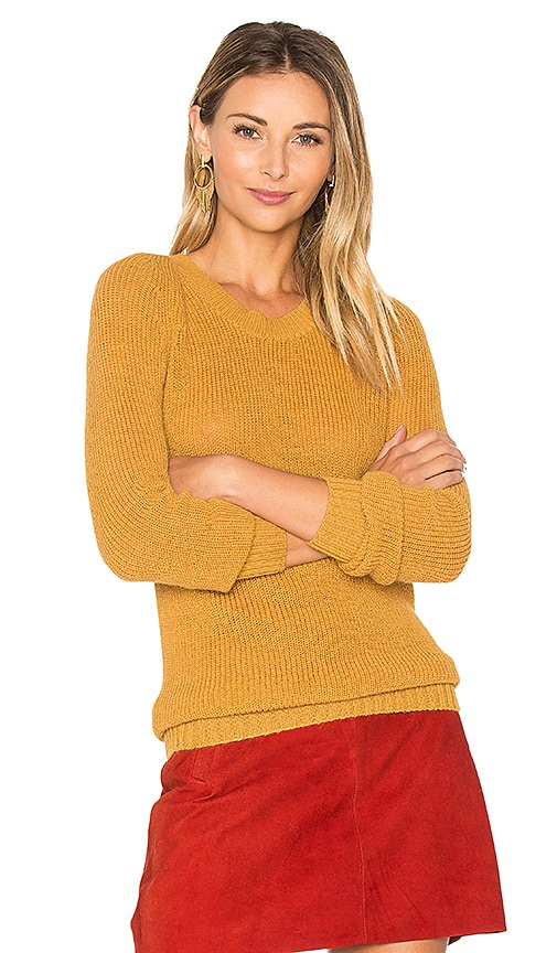 AYNI Anki V Neck Sweater in Mustard