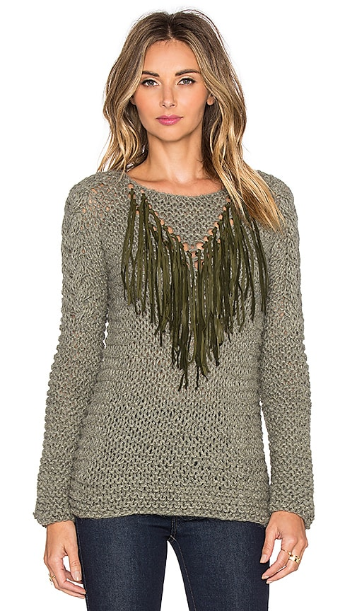 AYNI Tara V Leather Fringe Sweater in Beige Melange