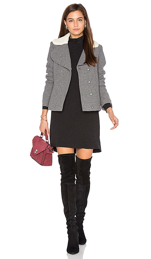 ba&sh Leonor Faux Sherpa Lined Coat in Gray
