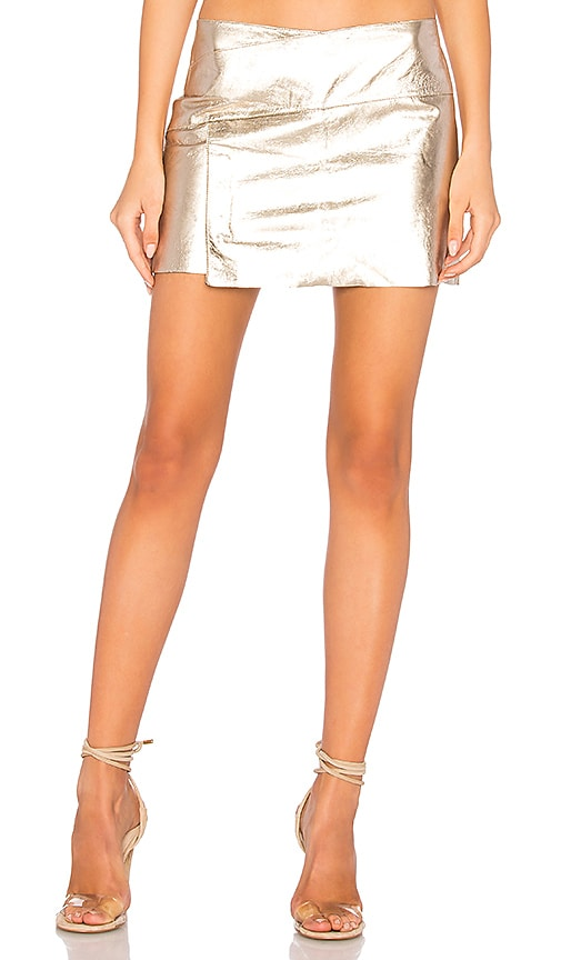 ba&sh Yruce Skirt in Metallic Gold