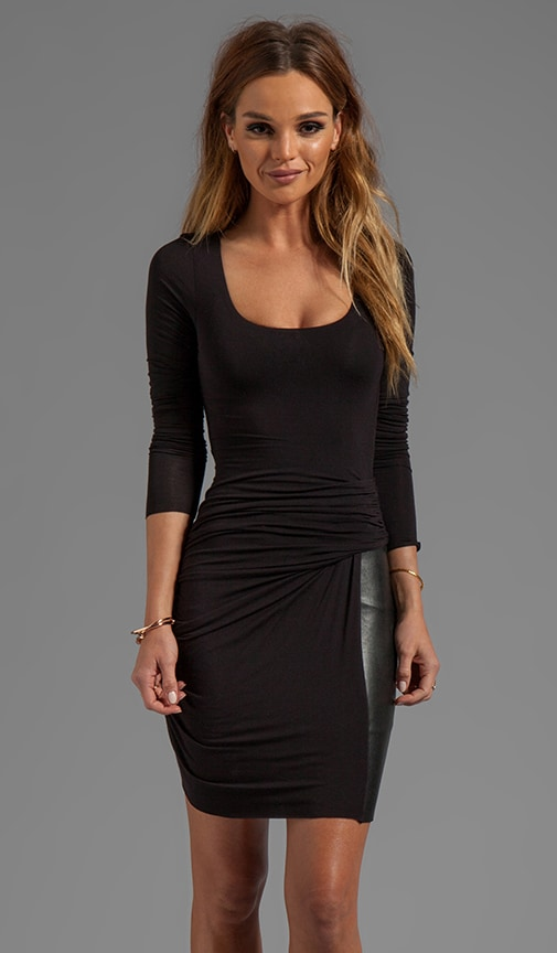 How Do I Love Thee Wrap Dress Leather Detail Dress