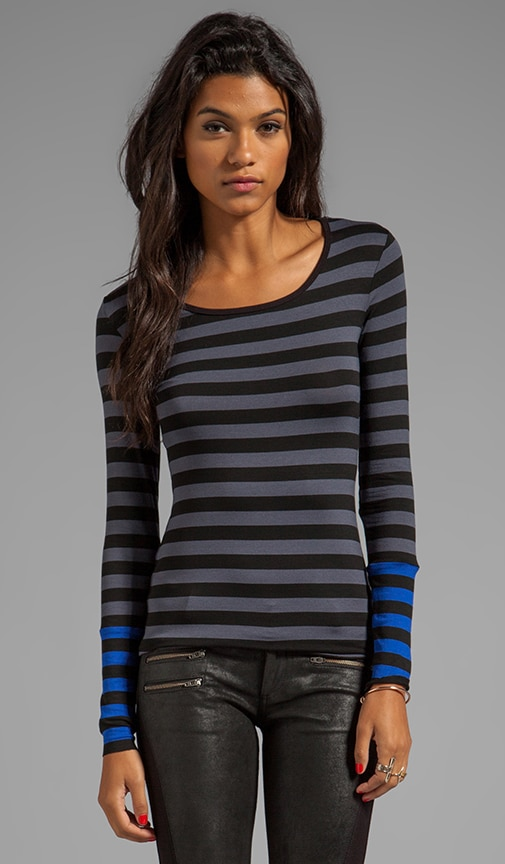 Tech Neck Striped Top