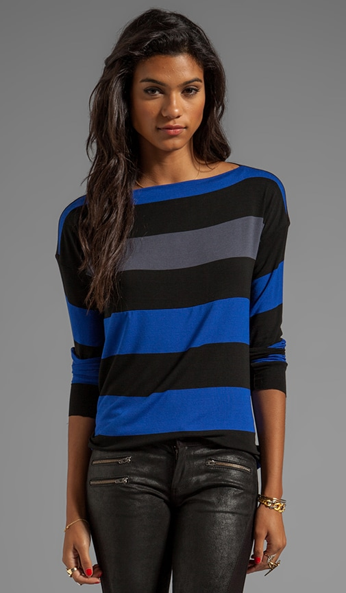 Thumb Typing Striped Long Sleeve Top