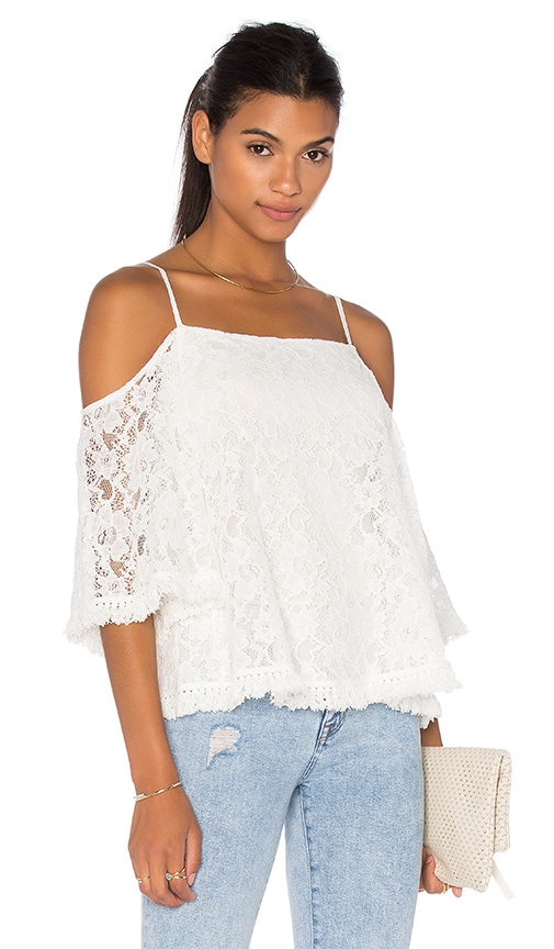 Bailey 44 Lace Tusk Cold Shoulder Top in White