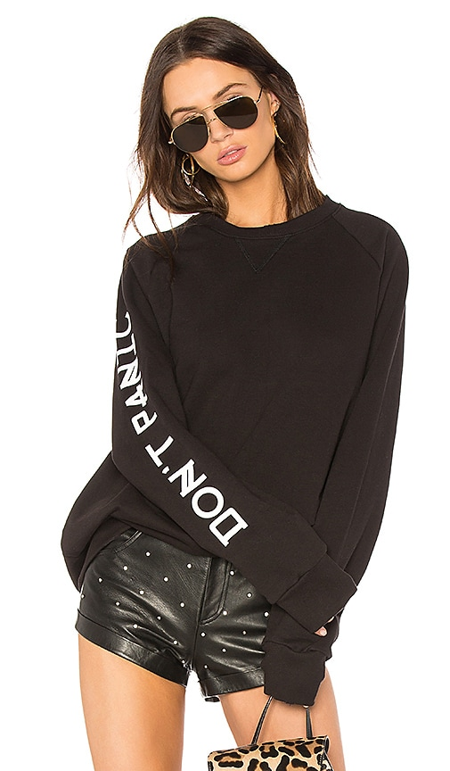 Baja East Don't Panic Sweatshirt Dress in Black