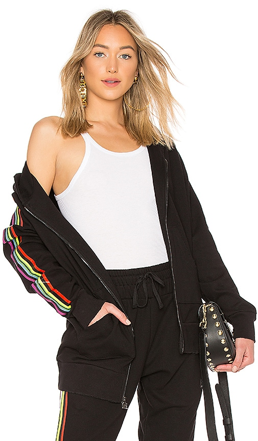 Baja East Be Stripe Zip Hoodie in Black