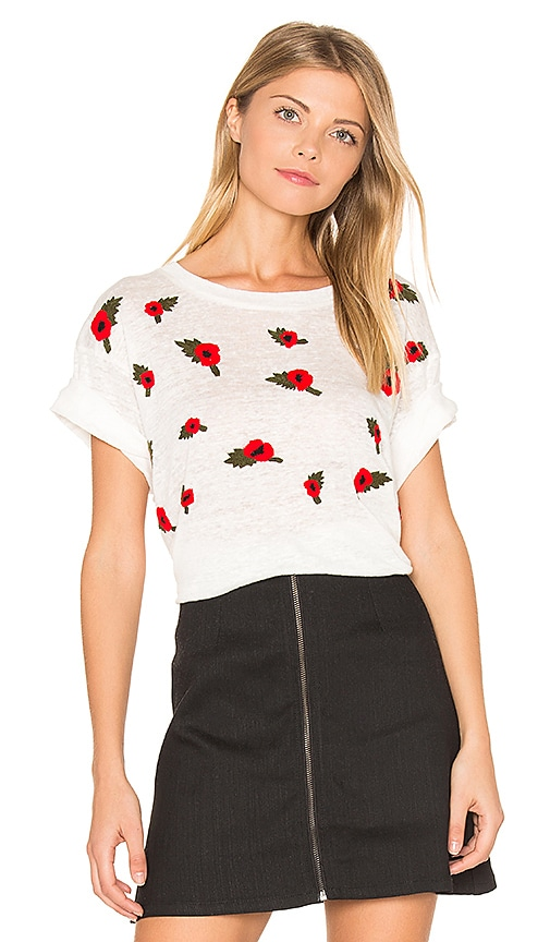 Banner Day Poppies Tee in Ivory