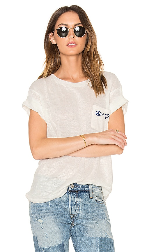 Banner Day Peace + Love Pocket Tee in White